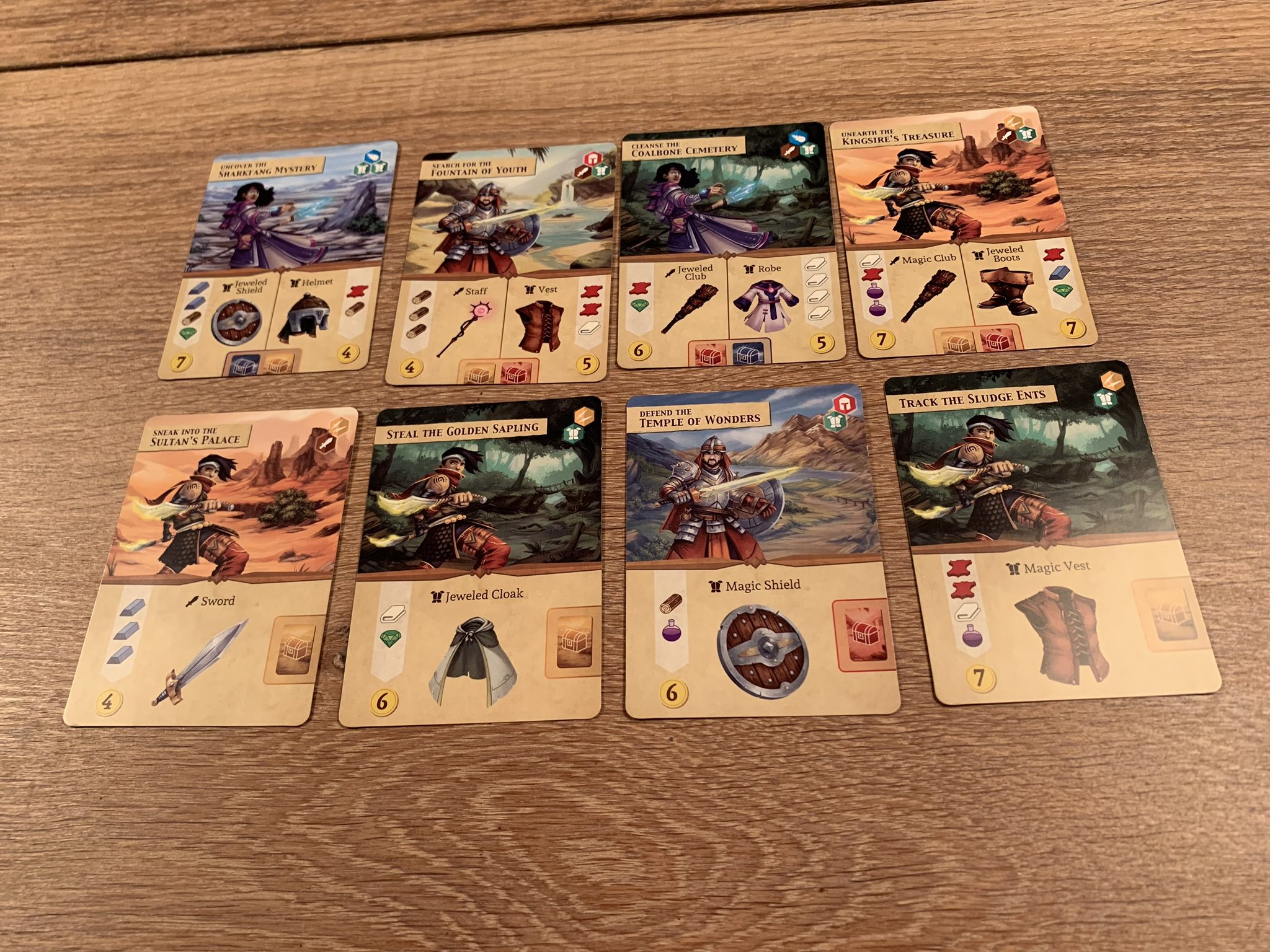 Reference cards and the special 2 cards, midway and end of game