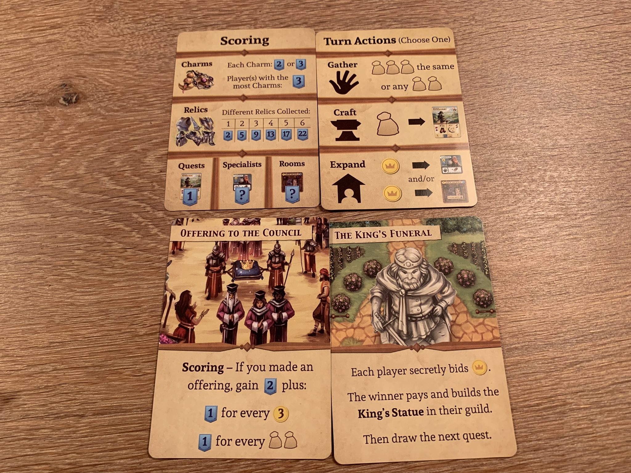 Quest cards, with the top ones being a 2 item quest