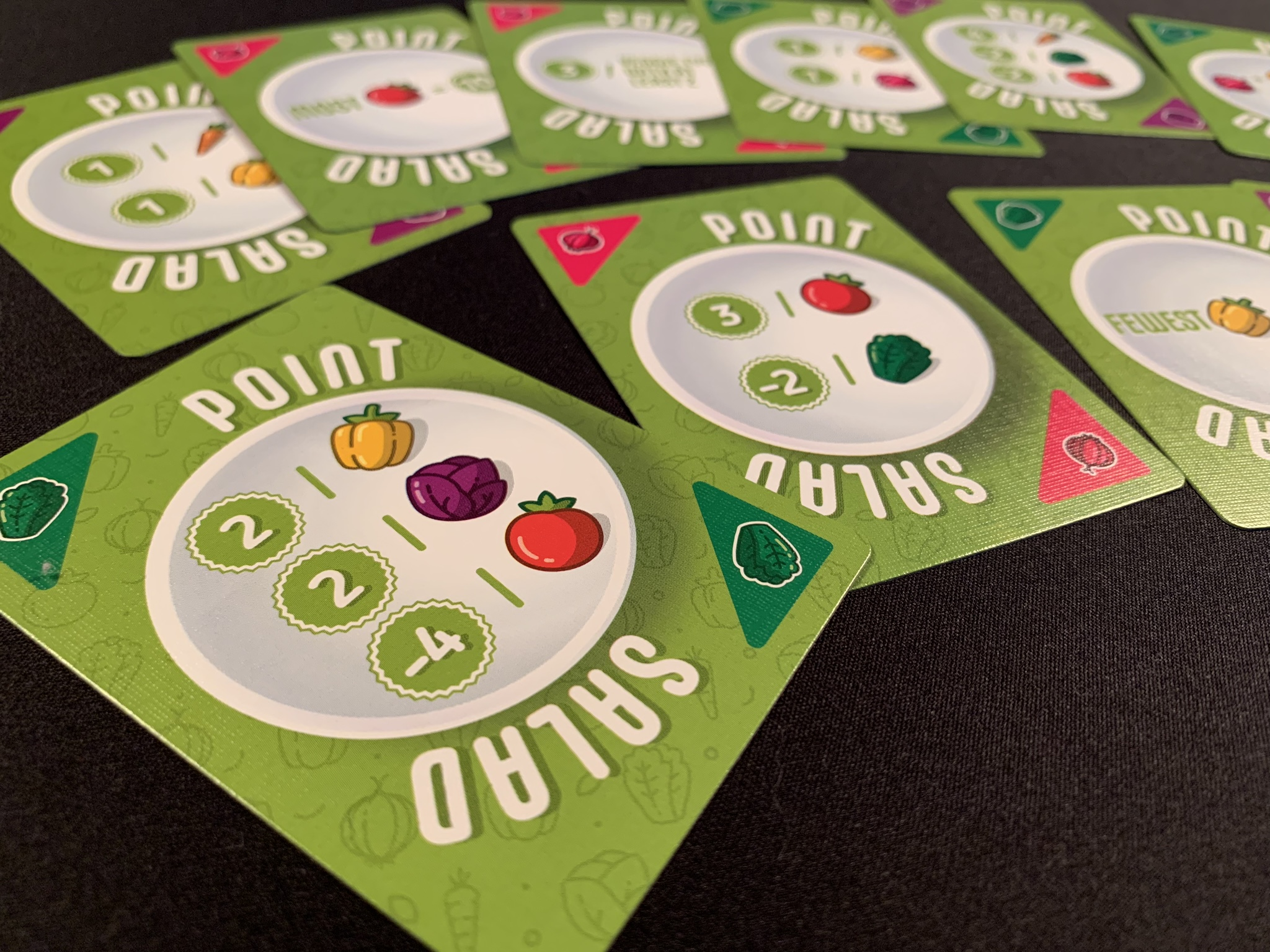 Point side of the cards, vegetables on the other side