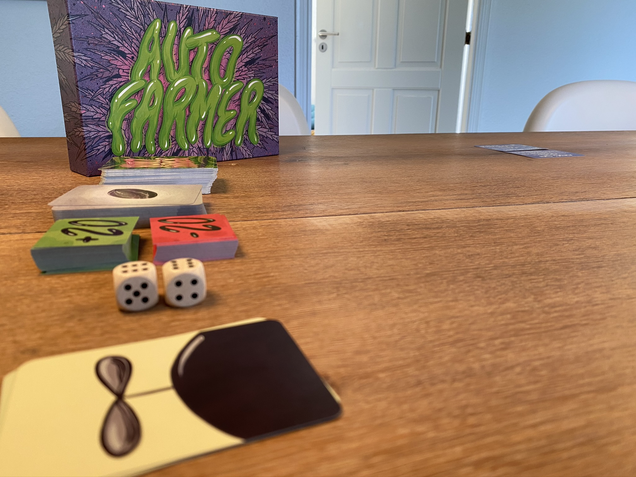 Setup with phase cards, seed deck and action cards