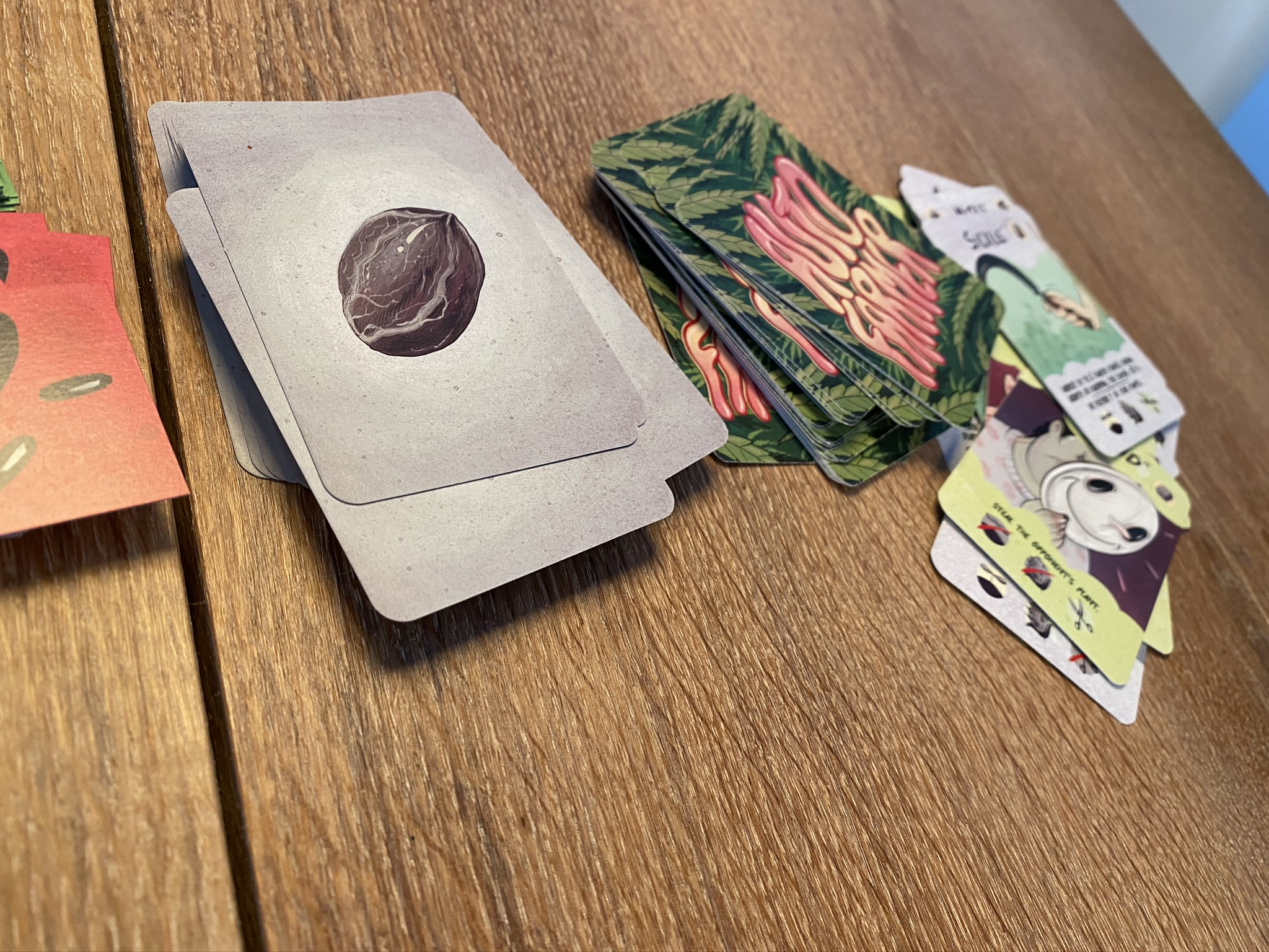 Seeds deck and action deck and discards